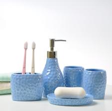 Blue Color 5pcs Bathroom Accessory Set Soap Dispenser Dish Toothbrush Holder