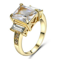 size 6 Princess Cut White Topaz Wedding Ring 10KT yellow Gold Filled Engagement