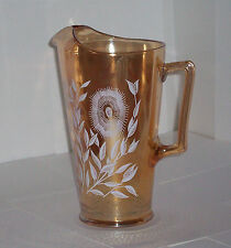 Vintage Jeannette Glass Cosmos Pitcher Iridescent Marigold Luster White Flowers