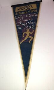 """Vintage Atlanta 1996 """"The World Comes Together"""" Olympic Games USA Pennant"""