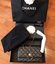 Chanel NIB Black Quilted Lambskin CC Logo Gold HW Wallet On Chain WOC Receipt