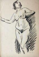 Rudolf Petuel (München 1870-1937) signierte Kreidezeichnung, weibliche Aktstudie