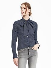 NWT Banana Republic Riley-Fit Bow Shirt,Blue Multi stripe SIZE 4P 4 P  #390383