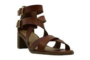 Material Girl Womens Dannee Open Toe Ankle Wrap Platform Pumps, cognac, Size 9.5