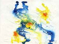 Blue and yellow Abstract - ink abstract painting unique gift Print ID : 904