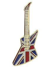 Electric Guitar Pin Badge Brooch Lapel Z Shaped Gibson Explorer Union Jack BOXED