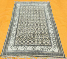 Rajasthani Block Print Traditional Cotton Area Kilim Rug Grey White Kilim Rug