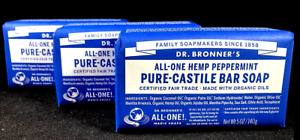 Dr Bronner's Bronners Hemp Peppermint Pure Castile Bar Soap (LOT OF 3)