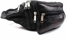 Leather Waist Bag Bum Bag Travel Pouch Pack 5 Zips 1446