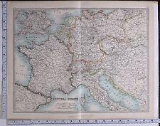 1915 LARGE MAP CENTRAL EUROPE FRANCE GERMANY BELGIUM NETHERLANDS BRITISH ISLES