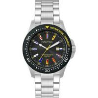 Orologio Uomo NAUTICA JONES BEACH NAPJBC005 Acciaio Nero Bandierine Sub 100mt