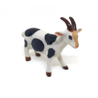 Size L Ceramic White Goat statue dollhouse figurines porcelain animal miniature