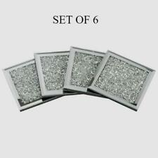 Set Of 6 Mirrored crushed Crystal Diamond Filled Glass Coaster