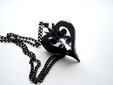 Kingdom Hearts Necklace Hearts Emblem Black Acrylic Lasercut Pendant