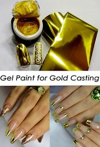 Gold Gel paint Gold Gel 5 ml and 1m Gold Foil for Gold Manicure Nail Art