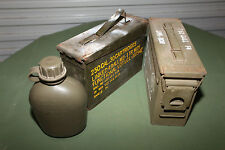 30 CAL size Ammo Box Pack of 2 Steel Tin EX Military Army Includes FREE canteen