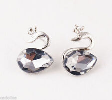 Butterfly Crystal Mixed Metals Stone Costume Earrings