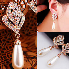 Women Waterdrop Faux Pearl Earrings Lady Rhinestone Dangle Charm Stud Useful