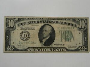 """1928-B $10 FRN Note """"Redeemable in Gold"""" D-Series Cleveland.  #5"""