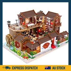 Dollhouse Miniature with Furniture, DIY Wooden Dollhouse Kit Plus Dust Proof an