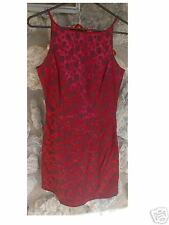 Red Satin Floral Print Party Dress 9/10