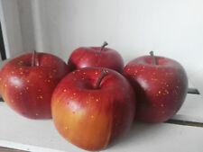 Hängen 4 Äpfel Weiß Seidenmatt 6.5cm Atrappen Dekoration Kunstobst Dekofrüchte