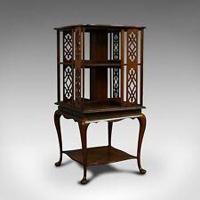 Antique Revolving Library, English, Walnut, Bookcase Table, Edwardian, C.1910