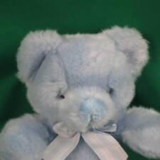 RUSS BLUE BOY BABY PUFFS RATTLE TEDDY BEAR PLAID BOW PLUSH STUFFED ANIMAL TOY
