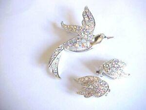Vtg Signed Sarah Coventry BIRD of PARADISE AB Rhinestone Brooch/Pin Earring Set