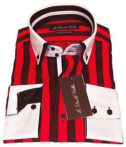 Mens Red & Black Pinstripe Double Collar Shirt - Custom Fit *UK Stock*