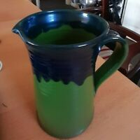 Unusual Terracotta Studio Pottery Drip Glazed Blue & Green Pitcher Jug VGC