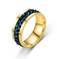 Silver/Black/Gold/Rainbow Spinner Chain Ring Stainless Steel Men Band Size 6-12