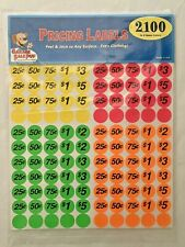 Garage Sale Pup Pkg Of 2100 Preprinted Pricing Labels Stickers Neon Multicolored