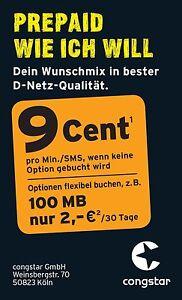 Congstar Prepaid Handy Sim Karte✔ T-Mobile Netz ✔Telekom Netz ✔9 Cent Tarif