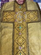 Antique French Silk Silver Threads Brocade  Christian Vestment Chasuble 19C IHS