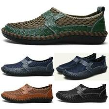 Men Leather Loafers Casual Shoes Breathable Driving Slip on Moccasins Mesh Shoes