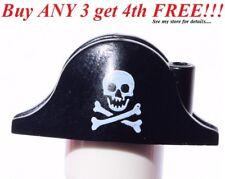 ☀️NEW Lego City Boy/Girl Minifig Hat Pirate Black Bicorne White Skull & Bones