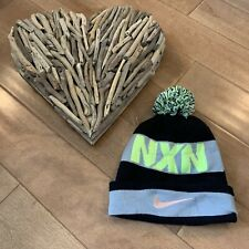 Nike Youth Black Gray Green Reversible Beanie Winter Pom Hat One Size