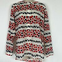 J.Crew Womens Size 6 Tall Cotton-Silk Voile Popover Button Up Shirt Berry Print