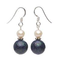 Ohrringe Ohrhänger aus Azurit-Malachit & Perlen, 925 Silber, blau-grün, Damen