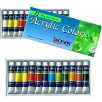 New! JACK RICHESON 12 Brilliant Colours x 12ml Acrylic Paint Tubes Set Painting