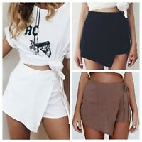 Womens Ladies Casual Skorts Skirt Short Culottes Irregular Flanging Wrap Shorts