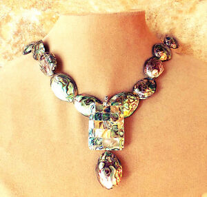 GENUINE ABALONE PENDANT MOSAIC Sea Opal Necklace Silver Wedding Jewelry Bridal