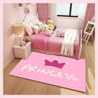 3D Pink Princess Carpets Kids Room Bedroom Bedside Floor Mats Area Rugs Decor