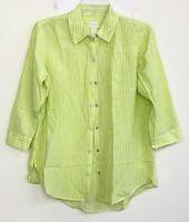 Chico's Women's size 0 (4/6-S) Green White Stripe Button Down Snap Shirt Top QK