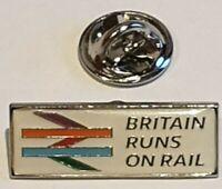 "British Rail ""Britain Runs On Rail"" Rare Lapel Badge Tie Pin"