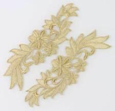1 Pair Lace Trims Motif Fabric Venise Golden Floral Flower Sewing Craft Applique
