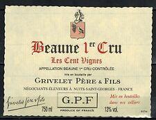 Etiquette de Vin-Bourgogne -Beaune Les Cents Vignes 1° Cru -Grivelet - Réf.n°182