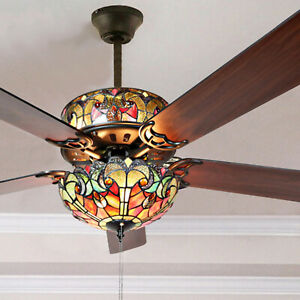 """Tiffany Style Stained Glass Ceiling Fan Beautiful Spice Colors 52"""" - Pull Chain"""