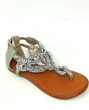 NEW! Candies Youth Girl's Chutes Thong Zipper Back Sandals Tan/Jeweled* 107D dm